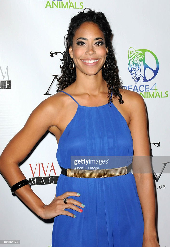 Actress Leslie A. Hughes arrives for the Celebration of the Viva Glam Magazine Launch April Issue featuring Katie Cleary to benefit Animals 4 Peace at AV on March 22, 2013 in Hollywood, California.