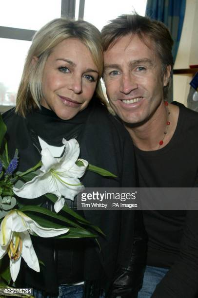 Actress Leslie Ash with husband Lee Chapman as she left hospital five days after being admitted with a broken rib and collapsed lungThe couple showed...