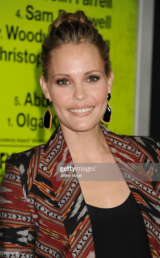 Actress Leslie Bibb arrives at the Los Angeles premiere of 'Seven Psychopaths' at Mann Bruin Theatre on October 1, 2012 in Westwood, California.