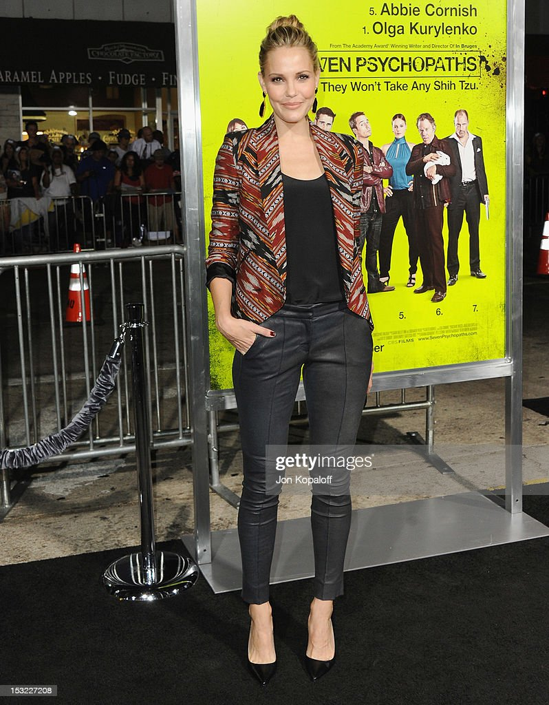 Actress Leslie Bibb arrives at the Los Angeles Premiere 'Seven Psychopaths' at Mann Bruin Theatre on October 1, 2012 in Westwood, California.