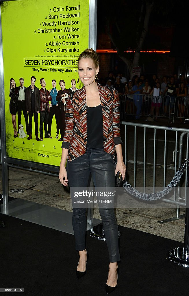 Actress Leslie Bibb arrives at the premiere of CBS Films' 'Seven Psychopaths' at Mann Bruin Theatre on October 1, 2012 in Westwood, California.