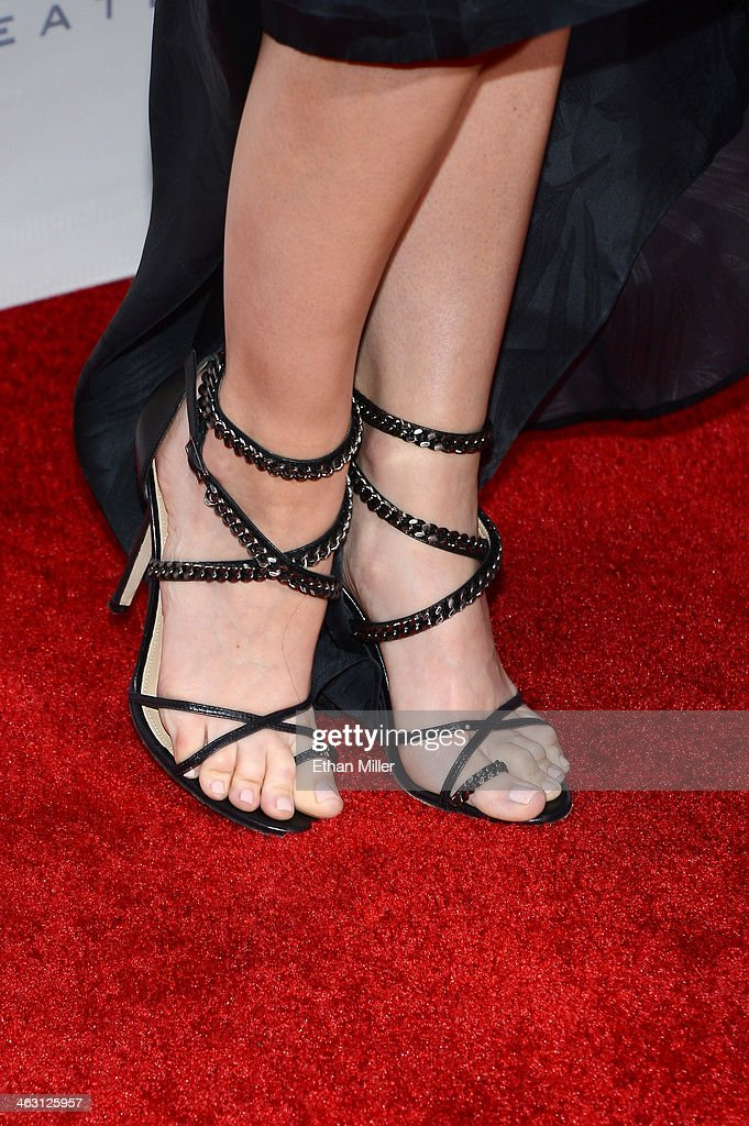 Actress Leslie Bibb (shoe detail) attends the 19th Annual Critics' Choice Movie Awards at Barker Hangar on January 16, 2014 in Santa Monica, California.