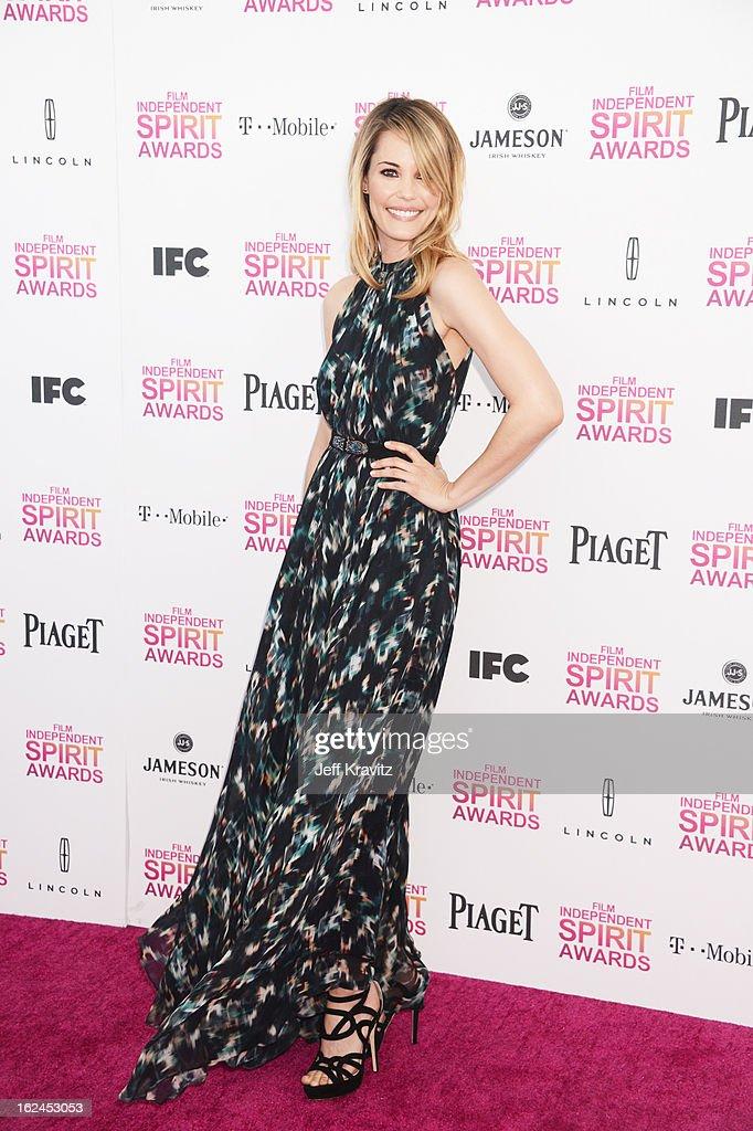 Actress Leslie Bibb attends the 2013 Film Independent Spirit Awards at Santa Monica Beach on February 23, 2013 in Santa Monica, California.