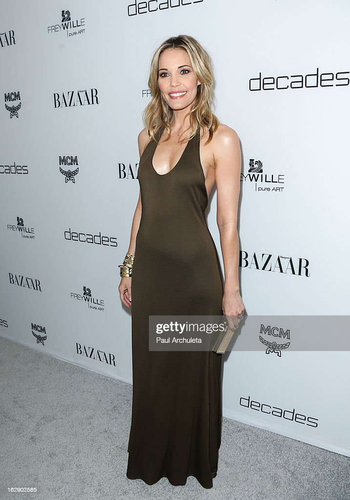 Actress Leslie Bibb attends the Harper's BAZAAR celebration for the new Bravo series 'Dukes of Melrose' at The Terrace at Sunset Tower on February 28, 2013 in West Hollywood, California.