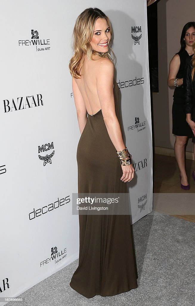 Actress Leslie Bibb attends the Harper's BAZAAR celebration of Cameron Silver and Christos Garkinos of Decades new Bravo series 'Dukes of Melrose' at The Terrace at Sunset Tower on February 28, 2013 in West Hollywood, California.