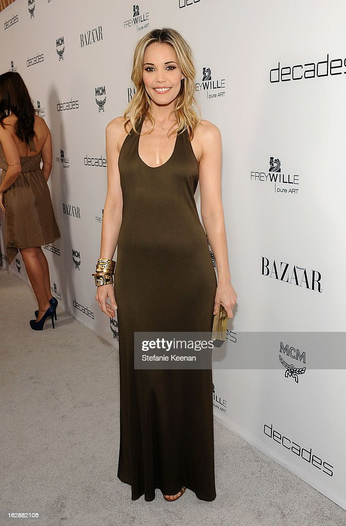 Actress Leslie Bibb attends the Harper's BAZAAR celebration of the launch of Bravo TV's 'The Dukes of Melrose' starring Cameron Silver and Christos Garkinos at Sunset Tower on February 28, 2013 in West Hollywood, California.