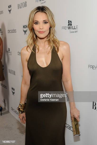 Actress Leslie Bibb attends the Harper's BAZAAR celebration of the launch of Bravo TV's 'The Dukes of Melrose' starring Cameron Silver and Christos...