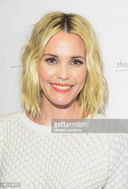 Actress Leslie Bibb attends the Lionsgate and ARIA Resort Casino present the Don Verdean Official After Party at Rock Reilly's on January 28 2015 in...