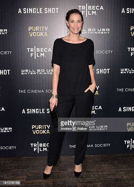 Actress Leslie Bibb attends the Tribeca Film and The Cinema Society screening of 'A Single Shot' at Tribeca Grand Hotel on September 19 2013 in New...