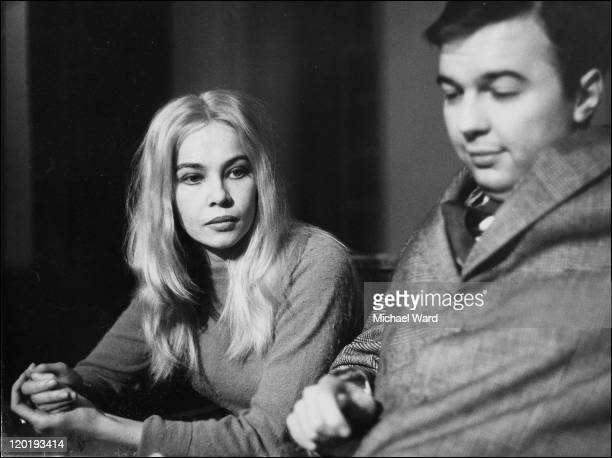 Actress Leslie Caron and director Peter Hall on the stage of the Shakespeare Memorial Theatre 1961