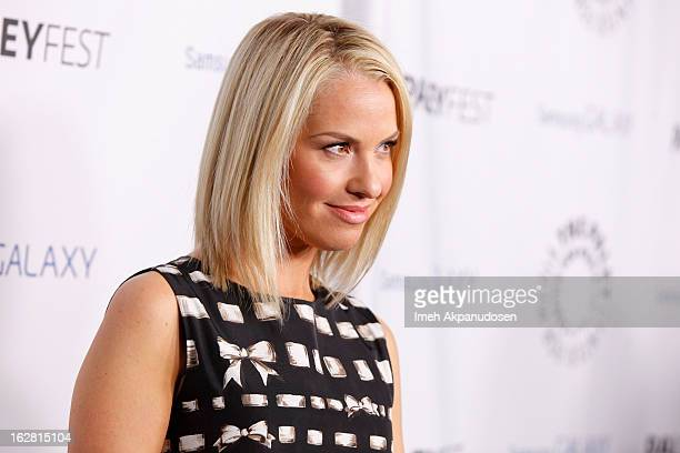 Actress Leslie Grossman attends the Inaugural PaleyFest Icon Award honoring Ryan Murphy at The Paley Center for Media on February 27 2013 in Beverly...