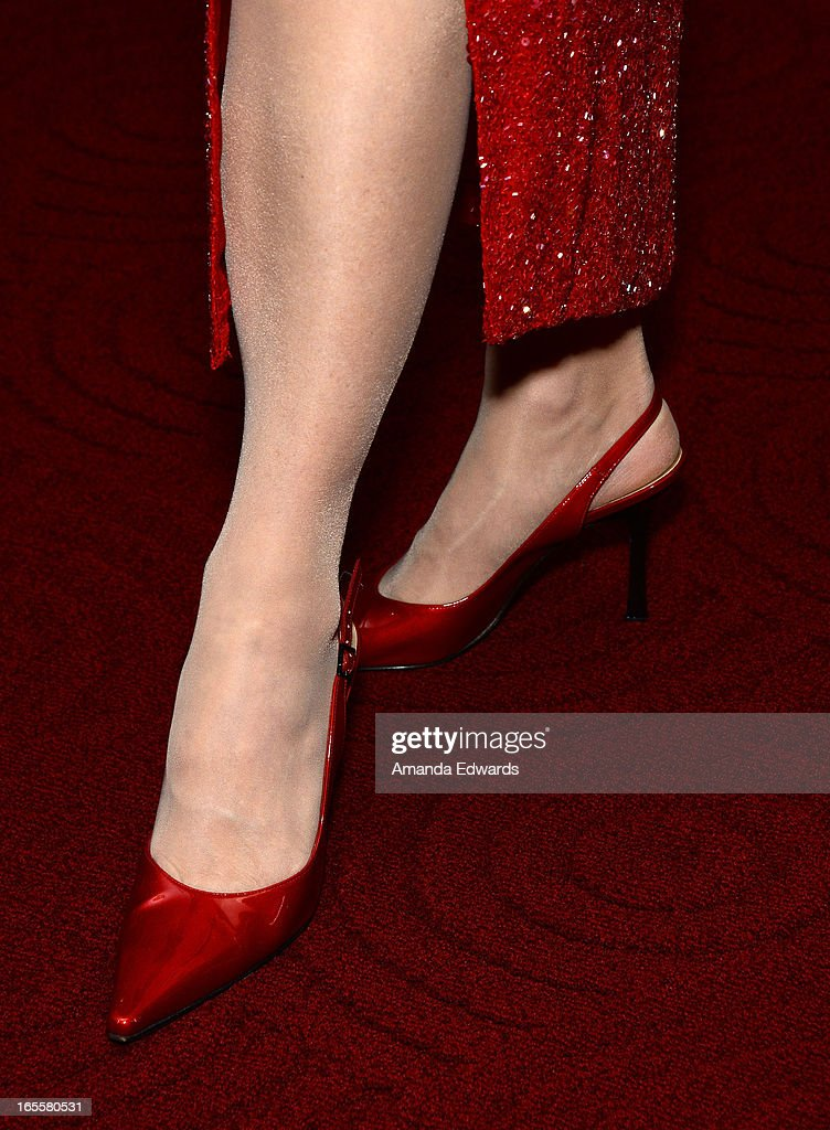 Actress Leslie Harter Zemeckis (shoe detail) arrives at The Academy Of Motion Picture Arts And Sciences' 25th Anniversary Screening Of 'Who Framed Roger Rabbit' at AMPAS Samuel Goldwyn Theater on April 4, 2013 in Beverly Hills, California.