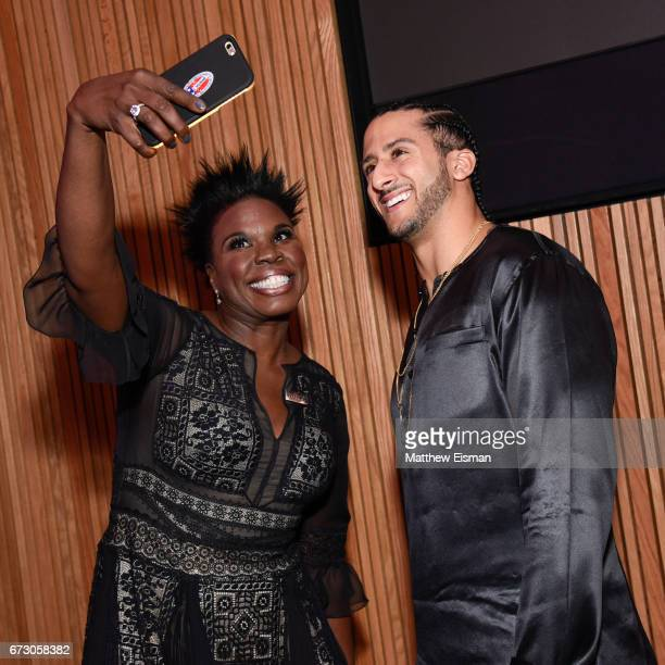 Actress Leslie Jones and NFL quarterback Colin Kaepernick pose together for a selfie during the 2017 Time 100 Gala at Frederick P Rose Hall Jazz at...
