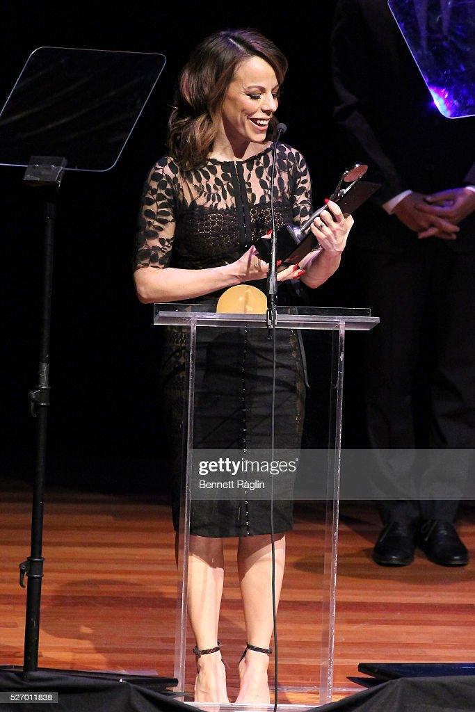Actress Leslie Kritzer accepts an award onstage during the 31st Annual Lucille Lortel Awards at NYU Skirball Center on May 1, 2016 in New York City.
