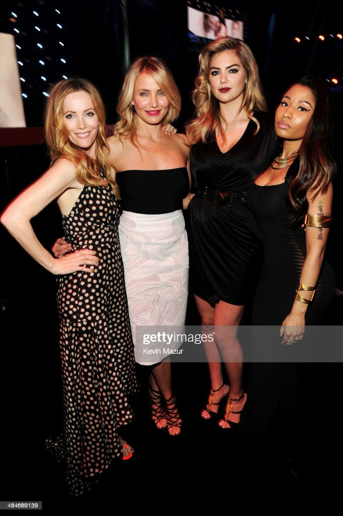 Actress <a gi-track='captionPersonalityLinkClicked' href=/galleries/search?phrase=Leslie+Mann&family=editorial&specificpeople=595973 ng-click='$event.stopPropagation()'>Leslie Mann</a>, actress <a gi-track='captionPersonalityLinkClicked' href=/galleries/search?phrase=Cameron+Diaz&family=editorial&specificpeople=201892 ng-click='$event.stopPropagation()'>Cameron Diaz</a>, actress-model <a gi-track='captionPersonalityLinkClicked' href=/galleries/search?phrase=Kate+Upton&family=editorial&specificpeople=7488546 ng-click='$event.stopPropagation()'>Kate Upton</a>, and actress-singer <a gi-track='captionPersonalityLinkClicked' href=/galleries/search?phrase=Nicki+Minaj+-+Performer&family=editorial&specificpeople=6362705 ng-click='$event.stopPropagation()'>Nicki Minaj</a> attend the 2014 MTV Movie Awards at Nokia Theatre L.A. Live on April 13, 2014 in Los Angeles, California.