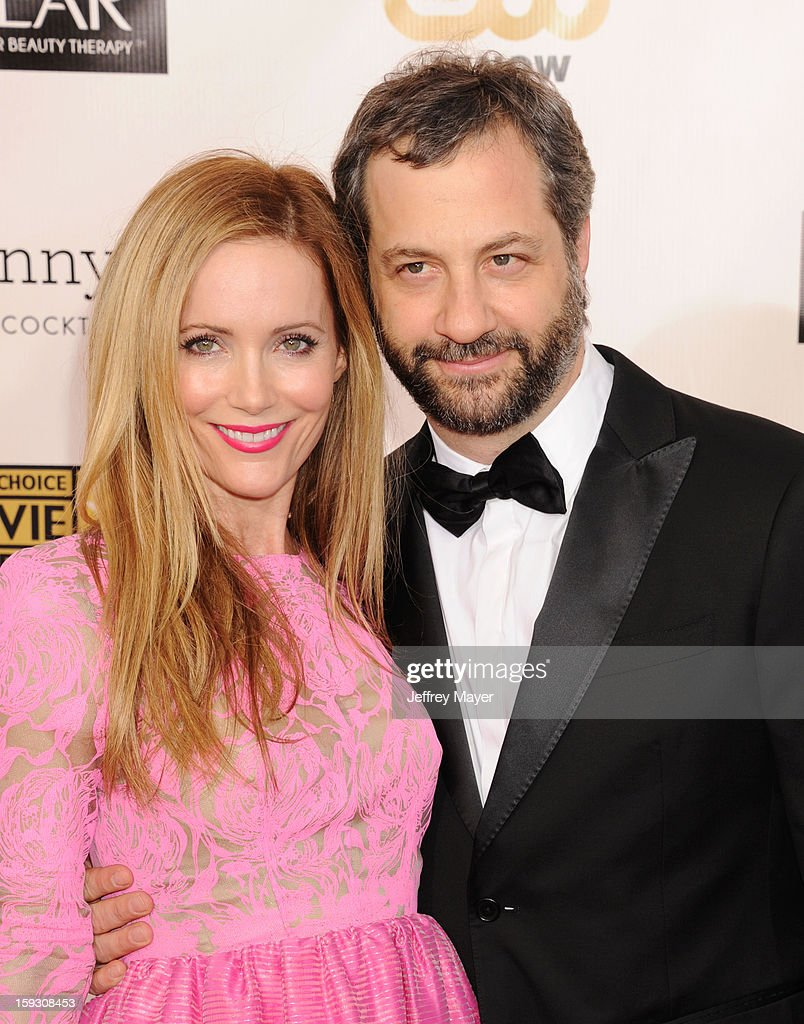 Actress <a gi-track='captionPersonalityLinkClicked' href=/galleries/search?phrase=Leslie+Mann&family=editorial&specificpeople=595973 ng-click='$event.stopPropagation()'>Leslie Mann</a> and director <a gi-track='captionPersonalityLinkClicked' href=/galleries/search?phrase=Judd+Apatow&family=editorial&specificpeople=854225 ng-click='$event.stopPropagation()'>Judd Apatow</a> arrive at the 18th Annual Critics' Choice Movie Awards at The Barker Hangar on January 10, 2013 in Santa Monica, California.