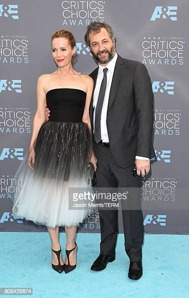 Actress Leslie Mann and director Judd Apatow attend the 21st Annual Critics' Choice Awards at Barker Hangar on January 17 2016 in Santa Monica...
