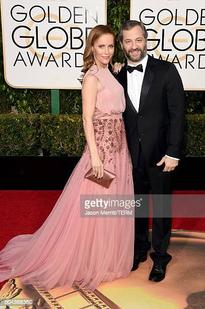 Actress Leslie Mann and director Judd Apatow attend the 73rd Annual Golden Globe Awards held at the Beverly Hilton Hotel on January 10 2016 in...