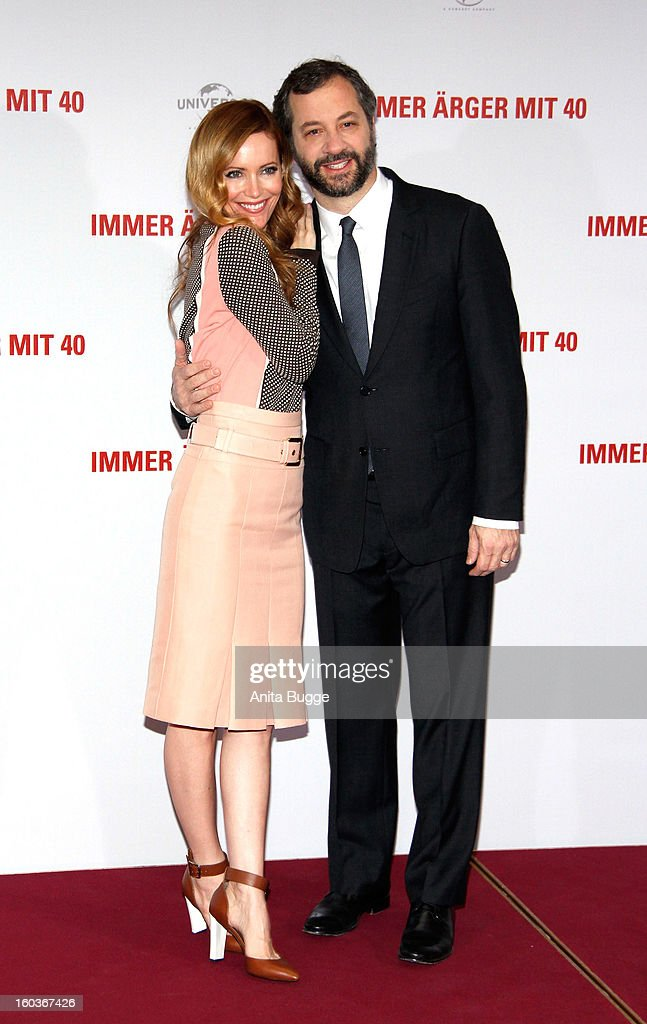 Actress Leslie Mann and her husband and director Judd Apatow attend the 'Immer Aerger mit 40' Berlin photocall at Hotel Adlon on January 30, 2013 in Berlin, Germany.