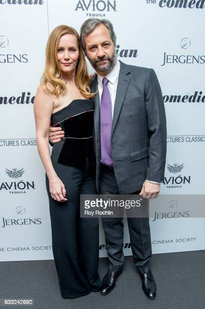 Actress Leslie Mann and husband Judd Apatow attend a Screening Of Sony Pictures Classics' 'The Comedian' at Museum of Modern Art on January 31 2017...