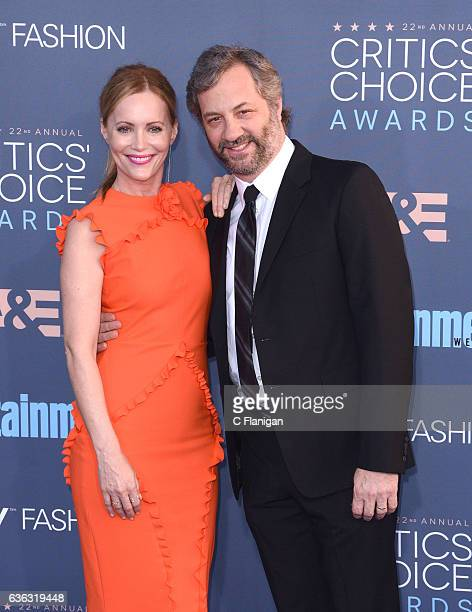 Actress Leslie Mann and Judd Apatow arrive at The 22nd Annual Critics' Choice Awards at Barker Hangar on December 11 2016 in Santa Monica California