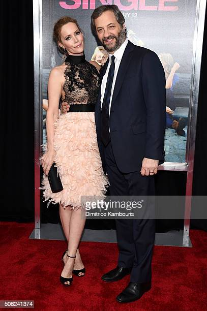 Actress Leslie Mann and Producer Judd Apatow attend the New York premiere of 'How To Be Single' at the NYU Skirball Center on February 3 2016 in New...