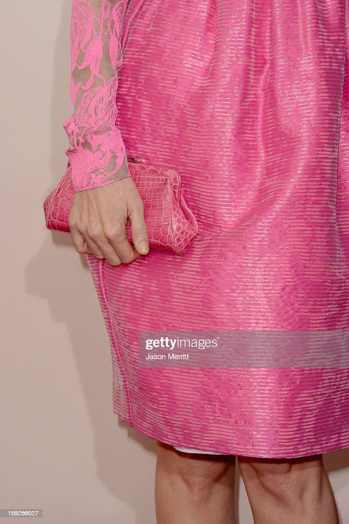 Actress Leslie Mann arrives at the 18th Annual Critics' Choice Movie Awards held at Barker Hangar on January 10, 2013 in Santa Monica, California.