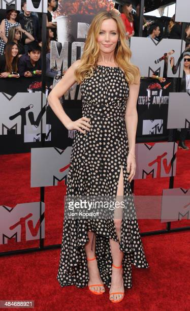 Actress Leslie Mann arrives at the 2014 MTV Movie Awards at Nokia Theatre LA Live on April 13 2014 in Los Angeles California