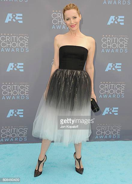 Actress Leslie Mann arrives at The 21st Annual Critics' Choice Awards at Barker Hangar on January 17 2016 in Santa Monica California