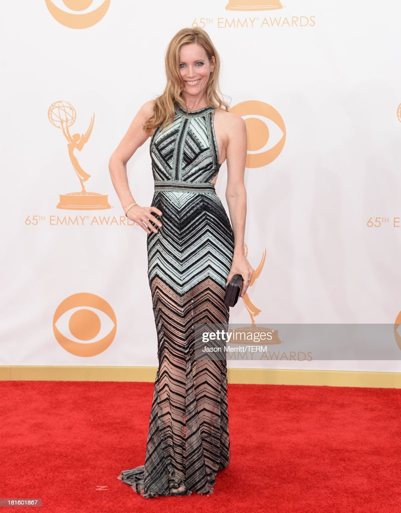 Actress Leslie Mann arrives at the 65th Annual Primetime Emmy Awards held at Nokia Theatre LA Live on September 22 2013 in Los Angeles California