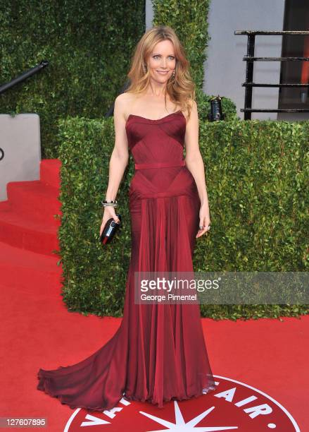 Actress Leslie Mann arrives at the Vanity Fair Oscar party hosted by Graydon Carter held at Sunset Tower on February 27 2011 in West Hollywood...