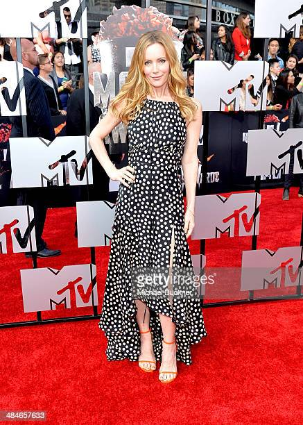 Actress Leslie Mann attends the 2014 MTV Movie Awards at Nokia Theatre LA Live on April 13 2014 in Los Angeles California