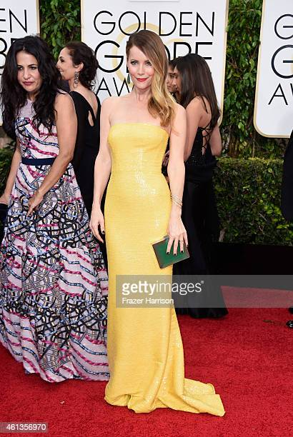 Actress Leslie Mann attends the 72nd Annual Golden Globe Awards at The Beverly Hilton Hotel on January 11 2015 in Beverly Hills California