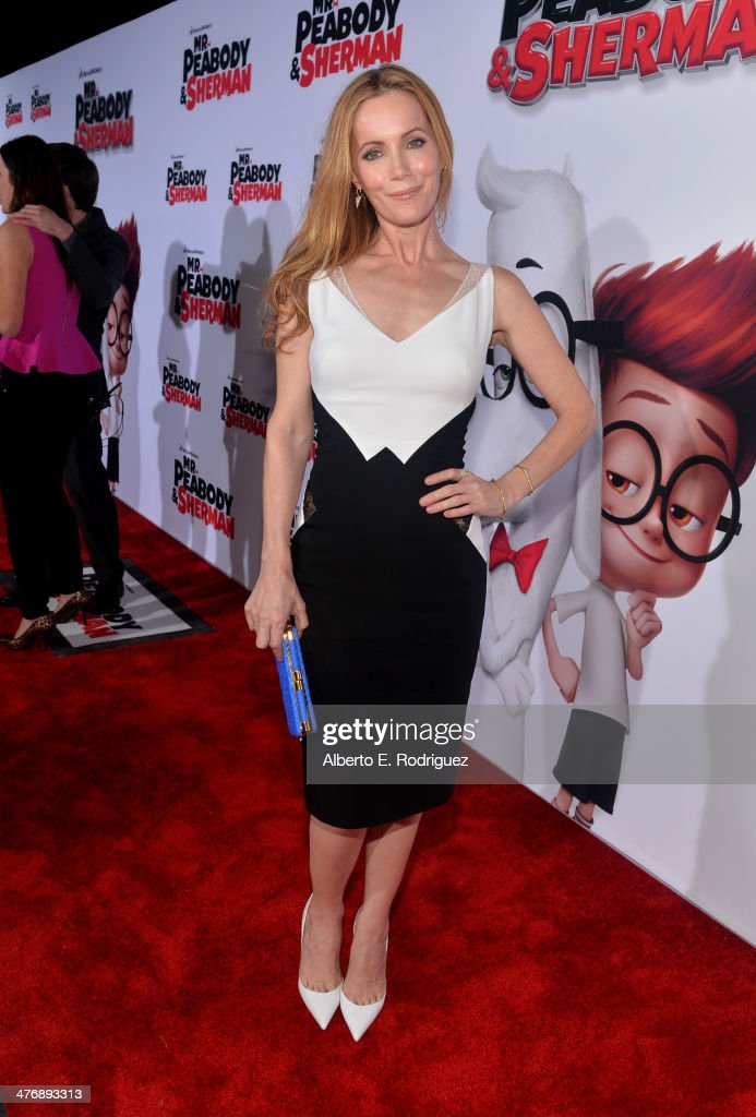 Actress Leslie Mann attends the premiere of Twentieth Century Fox and DreamWorks Animation's 'Mr Peabody Sherman' at Regency Village Theatre on March...
