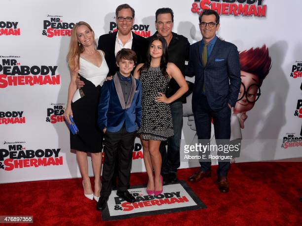 Actress Leslie Mann Director Rob Minkoff actors Patrick Warburton Ty Burrell actors Max Charles and Ariel Winter attend the premiere of Twentieth...