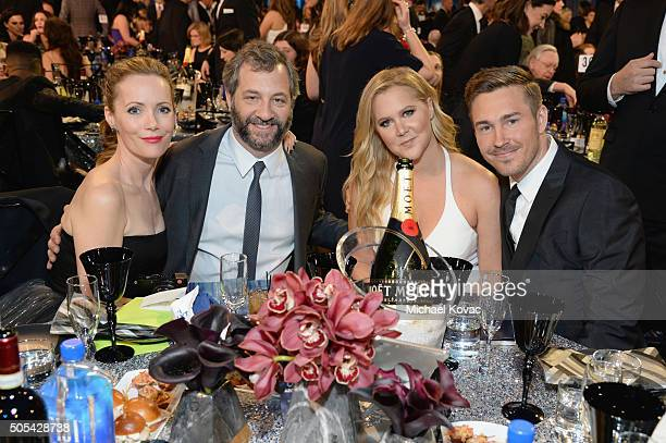 Actress Leslie Mann director/producer Judd Apatow honoree Amy Schumer and designer Ben Hanisch attend the 21st Annual Critics' Choice Awards at...