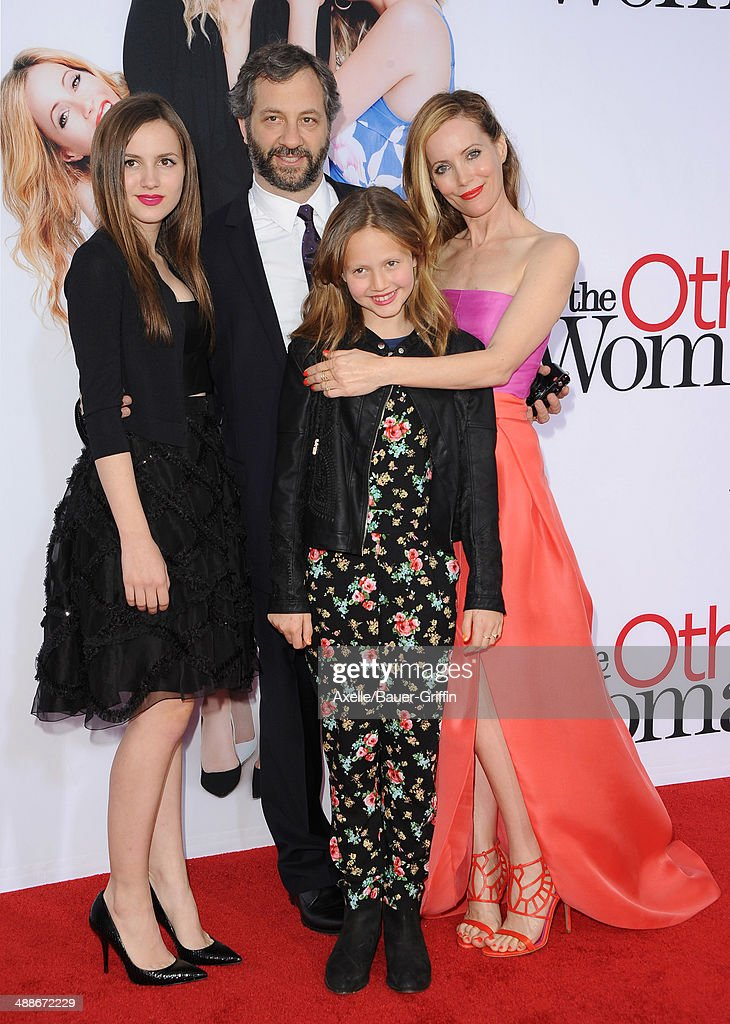 Actress Leslie Mann film producer Judd Apatow Iris Apatow and Maude Apatow arrive at the Los Angeles premiere of 'The Other Woman' at Regency Village...