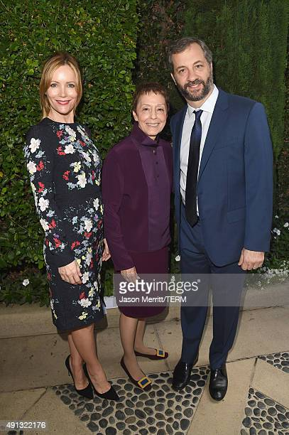 Actress Leslie Mann Gail Abarbanel President of The Rape Foundation and honoree Judd Apatow attend The Rape Foundation's annual brunch at Greenacres...