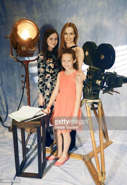 Actress Leslie Mann is photographed with their daughters Maude Apatow and Iris Apatow for People Magazine on March 27 2014 in Las Vegas Nevada