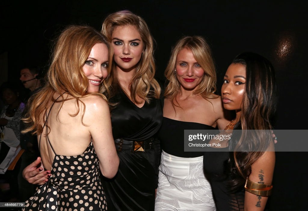 Actress Leslie Mann, model/actress Kate Upton, actress Cameron Diaz, and recording artist Nicki Minaj attend the 2014 MTV Movie Awards at Nokia Theatre L.A. Live on April 13, 2014 in Los Angeles, California.