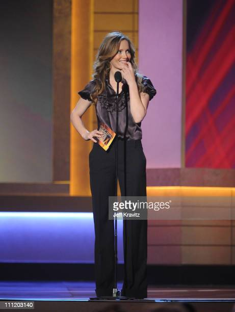 Actress Leslie Mann onstage at the 13th ANNUAL CRITICS' CHOICE AWARDS at the Santa Monica Civic Auditorium on January 7 2008 in Santa Monica...