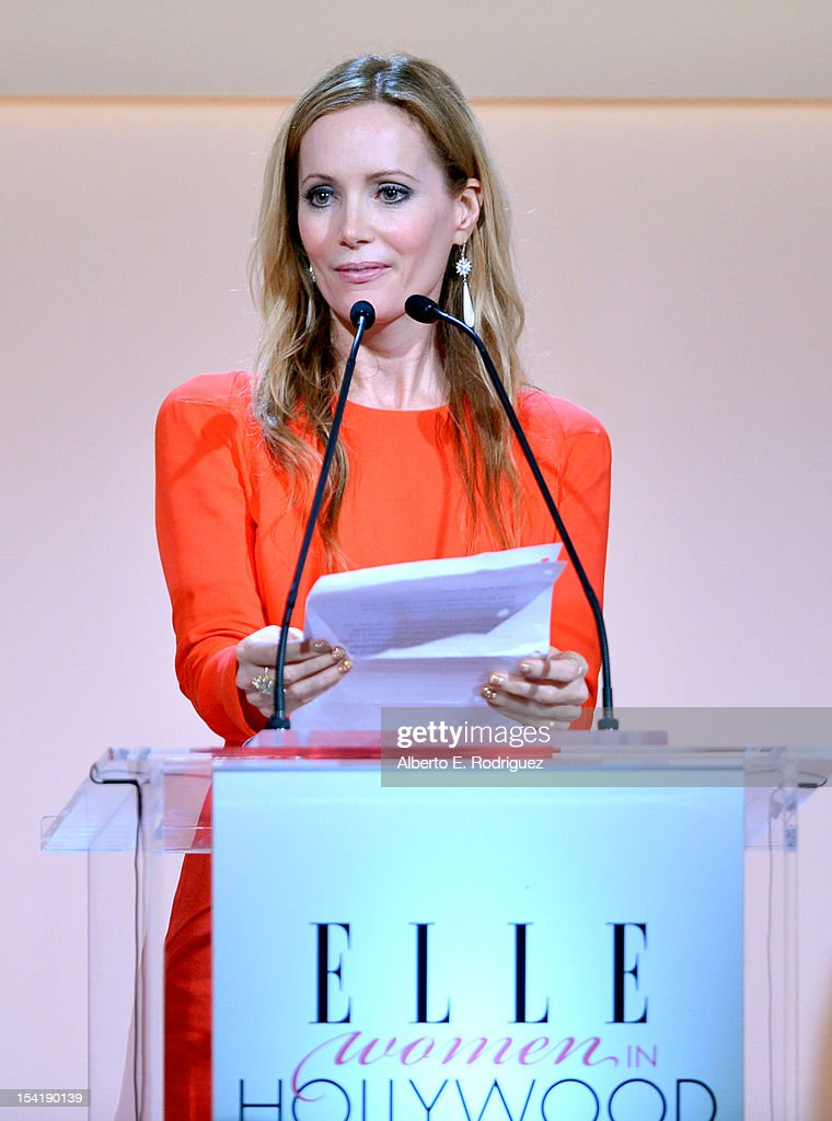 Actress <a gi-track='captionPersonalityLinkClicked' href=/galleries/search?phrase=Leslie+Mann&family=editorial&specificpeople=595973 ng-click='$event.stopPropagation()'>Leslie Mann</a> speaks onstage at ELLE's 19th Annual Women In Hollywood Celebration at the Four Seasons Hotel on October 15, 2012 in Beverly Hills, California.