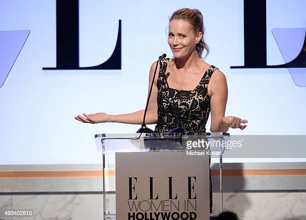 Actress Leslie Mann speaks onstage during the 22nd Annual ELLE Women in Hollywood Awards presented by Calvin Klein Collection L'Oréal Paris and David...