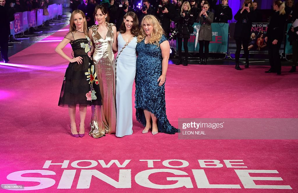US actress Leslie Mann, US actress Dakota Johnson, US actress Alison Brie and Australian actress Rebel Wilson pose on the red carpet during arrivals for the European premiere of How To Be Single in London on February 9, 2016. / AFP / LEON NEAL