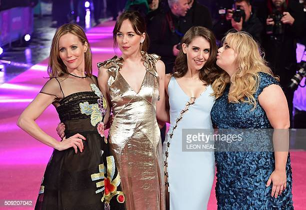 US actress Leslie Mann US actress Dakota Johnson US actress Alison Brie and Australian actress Rebel Wilson pose on the red carpet during arrivals...