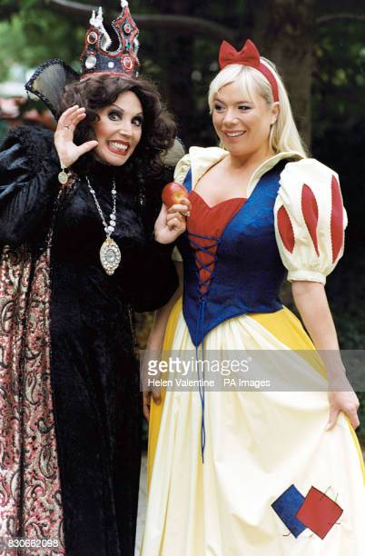 Actress Letitia Dean who plays Sharon in BBC One's EastEnders as Snow White and sixties singer Susan Maughan as the wicked stepmother during a...