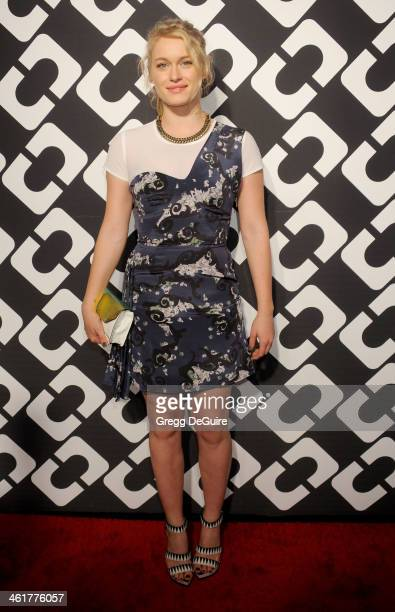 Actress Leven Rambin arrives at Diane Von Furstenberg's 'Journey Of A Dress' premiere opening party at Wilshire May Company Building on January 10...