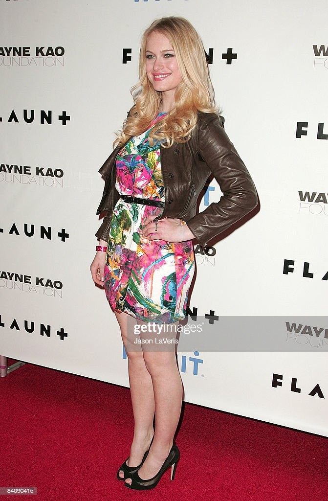 Actress Leven Rambin attends Flaunt Magazine's 10th anniversary and annual holiday toy drive at The Wayne Kao Mansion on December 18 2008 in Los...