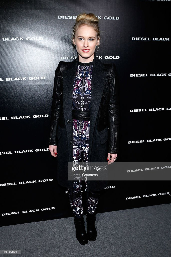 Actress Leven Rambin backstage at the Diesel Black Gold Fall 2013 fashion show during Mercedes-Benz Fashion Week at Pier 57 on February 12, 2013 in New York City.
