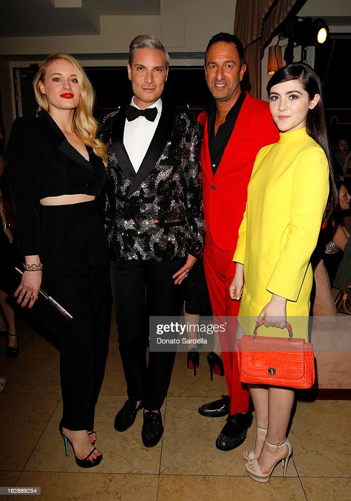 Actress Leven Rambin, Decades co-founders Cameron Silver, Christos Garkinos and actress Isabelle Fuhrman attend the Dukes Of Melrose launch hosted by Decades, Harper's BAZAAR, and MCM on February 28, 2013 in Los Angeles, California.